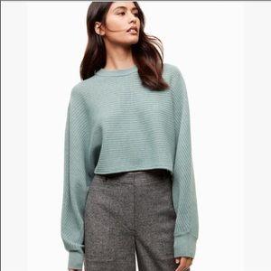 Aritzia Wilfred Free Lolan Crop Wool Sweater Teal